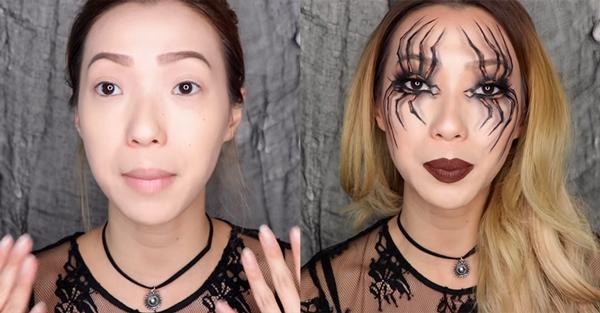maquillaje de araña para halloween paso 1