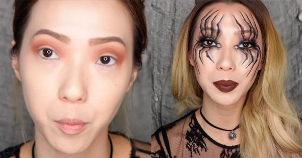 maquillaje de araña halloween paso 2