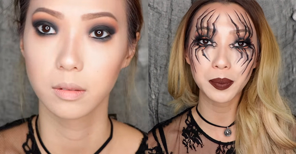 maquillaje de araña halloween paso 3