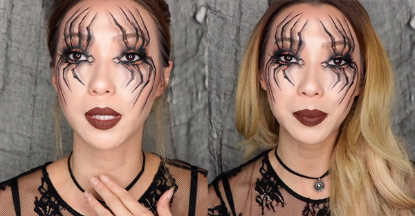 maquillaje de araña halloween paso 6